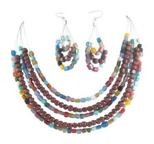 New 5 Row Piano Wire Necklace Earring Set With Wood & Glass Beads #N2312
