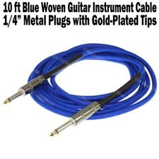 "10 ft Blue Woven Guitar Instrument Cable Cord Effect Patch Gold Tip 1/4"" Plugs"