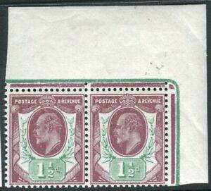 Sg 288 Spec M10(5) 1½d Dull Purple & Green.  A LMM pair ( left stamp UMM)