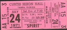 SPIRIT UNUSED CONCERT TICKET 7/24/71 CURTIS HIXON HALL TAMPA, FLORIDA