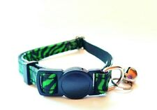 WILD GREEN LEOPARD ! Breakaway Safety Kitty Cat Collar with removable bell!