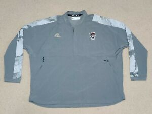 Men's Adidas Gray NC State Wolfpack 1/4 Zip Pullover Jacket Size 2XL XXL GH7583