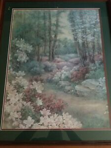 Rare Limited Edition LENA LIU  Azalea Path Framed Print Signed & Numbered