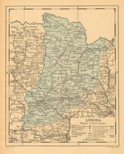 LÉRIDA. Lleida Lerida. Cataluña Catalunya. Mapa antiguo de la provincia 1914