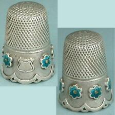 Unusual Antique Silver Thimble w/ Enameled Flowers * Germany * Circa 1890s