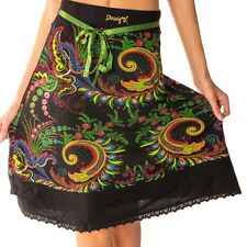 Beautiful Desigual Mila Black Skirt With Colourful Floral Pattern Size S