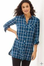 J Jill S Blue White Plaid Button Up Tunic Top Excellent Lumber Cute Casual