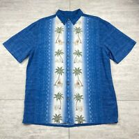 Men's Island Shores Hawaiian Palm Trees & Pineapple Blue Shirt - Size Medium M