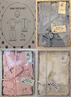 6 PCs Baby Boy Girl Christening Gift Outfit Set Babygrow Hat Mitts Upto 6 Months