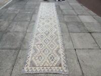 Kilim Vintage Traditional Hand Made Oriental Grey Long Kilim Runner 382x82cm