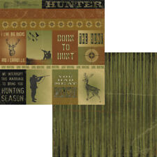 "12""x12"" Scrapbook Paper THE HUNT HUNTING CUTOUTS Deer Buck Rifle Camouflage"