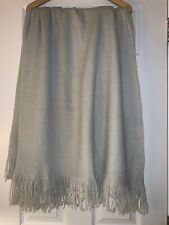 "Mark & Graham Light Gray Throw Blanket with Tassels 60"" x 100"" 100% Acrylic Knit"