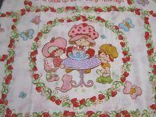 Vintage 1980s Strawberry Shortcake flat sheet full -American Greetings fabric