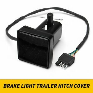 "2"" Smoked 15-LED Brake Light DRL Trailer Hitch Cover Fit Towing & Hauling"