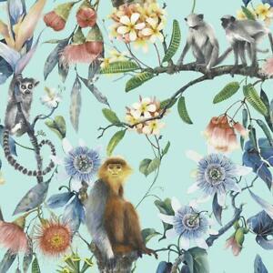 G67957 - Organic Textures Monkeys Lemurs Multicoloured Galerie Wallpaper