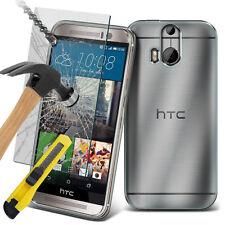 Ultra Duradero Transparente Carcasa Gel TPU Funda & Vidrio para HTC One M9