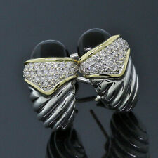 David Yurman Sterling & 18K Gold Black Onyx Diamond Cocktail Shrimp Earrings