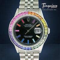 Rolex Mens Watch Steel Datejust 16234 Black Rainbow Dial Colored Sapphire Bezel