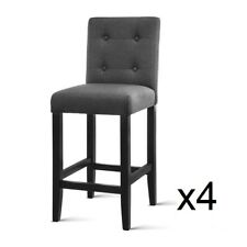 4xBar Stool Wooden Barstool Rubber Wood Fabric Chair Timber Dining Charcoal Grey