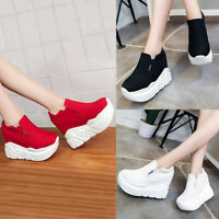 Women Chunky Wedge High Platform Shoes Creepers Sandals Floral Casual Canvas