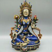 "8.26"" China Cloisonne Enamel Bronze Buddhism Kwan-yin Guanyin Tara Buddha Statue"