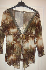 Beautiful sheer Brown Cover UP /Top from Tatlas gold stitching & beadwork Sz 12