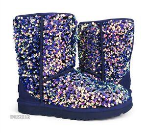 UGG Classic Short Stellar Sequin Medallion Suede Fur Boots Womens Size 8 *NIB*