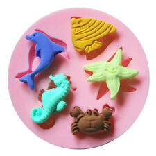 Sea Shell Star Fish Horse Crab Silicone Fondant Cake Topper Mold Mould Chocolate