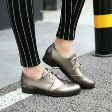Womens Lace Up Flats Brogues Wing Tips college Plus Size Casual oxford Shoes
