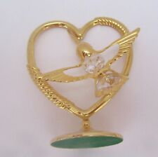 Figurine/Ornament- HUMMINGBIRD IN HEART Austrian Crystal- 24K gold plated-stand