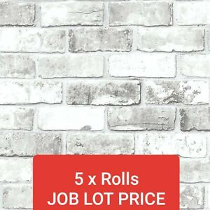 DEBONA 6751 WHITE BRICK SHIMMER JOB LOT 5 ROLLS