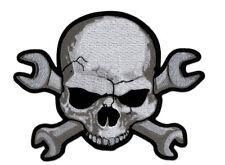 Skull & Wrench Crossbones Jacket Vest Back Biker MC Patch (XL-10.0 X 8.5 inch)