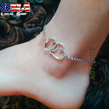 Silver Women Heart Charm Ankle Anklet Bracelet Barefoot Beach Style Foot Jewelry