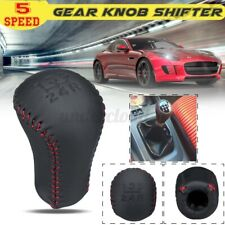 5 Speed Red Stitch PU Leather Gear Shift Knob Shifter Head Fit For Toyota  l
