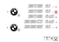 Genuine BMW E46 Trunk Lid Chrome 318ti Emblem Badge Logo Sign OEM 51147025181