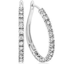 """1 Ct Real Diamond Hoops Womens White Gold Earrings 3/4"""" Tall"""