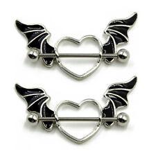 14G Stainless Steel Bat Wing Nipple Shield Ring Nipple Piercing Barbell Jewelry