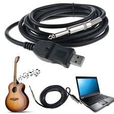 3M Guitar Bass 1/4'' 6.3mm Jack To USB Link Connection Instrument Cable Ada