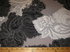 "Blk/Wht/Silver Big Paisley Hologram 2 Way Stretch Poly Lycra Fabric 58"" W BTY"