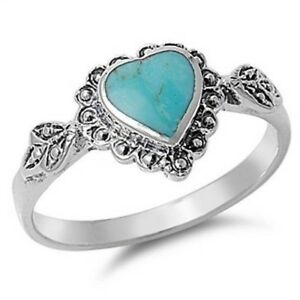 Heart Turquoise Ring Genuine Sterling Silver 925 Gift Face Height 10 mm Size 9