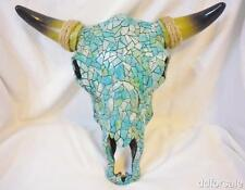 Polyresin Mosaic Steer Skull Covered With Turquoise, Lime, Clay and Ivory Tiles