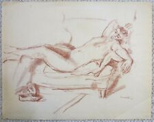 1960 Handsome male nude figure portrait drawing Vito Tomasello NYC gay artist