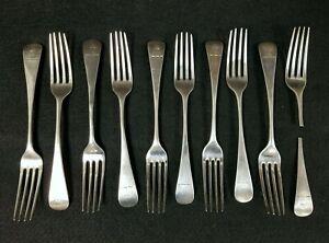 10 Antique Georgian Sterling Silver Forks Peter Ann Wm. Bateman Unicorn Engraved