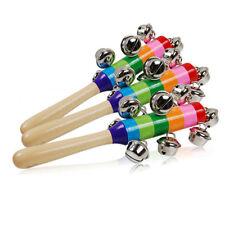 Baby Kids Rainbow Wooden Handle Bell Jingle Stick Shaker Rattle Toys UK Stock
