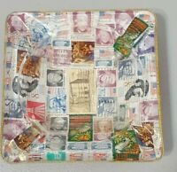 "Vintage 70s Postage Stamp  Cigarette Ashtray glass mid century 5 7/8"" square"