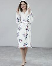 Joules Womens Ida Jersey Fleece Lined Dressing Gown - CREAM FLORAL