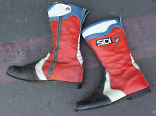 Vintage Sidi Motorcycle Racing Boots Leather Red White Black & Blue Vibram Rare