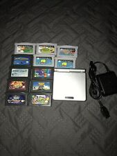Nintendo Gameboy Advance SP GBA AGS-001 Silver w/Charger And 12 Games Tested