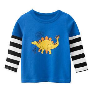 Kids Boys T-shirt Pullover Tops Dinosaur Long Sleeve Blouse Casual Daily Wear