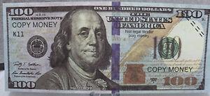 * Real Looking 5 -$100 Novelty Dollar Bills Ben Franklin Hundreds Great Gag Gift